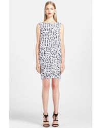 Oscar de la Renta Print Stretch Cotton Dress - Lyst