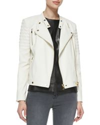 J Brand Crista Ribbedshoulder Leather Jacket - Lyst