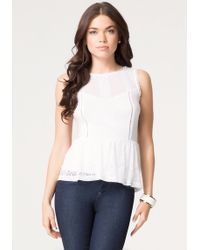 Bebe Mix Lace Peasant Peplum Top - Lyst