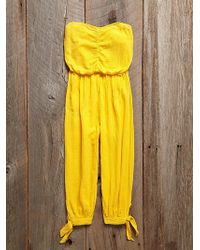 Free People Vintage Yellow Jumpsuit - Lyst