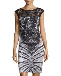 Sue Wong Cap-sleeve Lace Overlay Cocktail Dress - Lyst