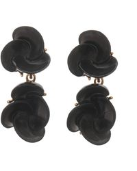 Oscar de la Renta Swirl Flower Drop Earrings - Lyst