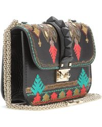 Valentino Lock Small Embroidered Leather Shoulder Bag - Lyst