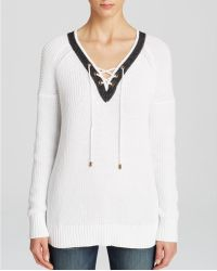 Moon & Meadow - Lace Up Sweater - Lyst
