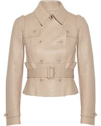 Burberry Prorsum Doublebreasted Leather Jacket - Lyst