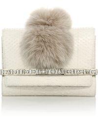 Jimmy Choo   Bow Embellished Python & Fox Fur Clutch   Lyst