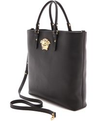 Versace Leather Tote Black - Lyst
