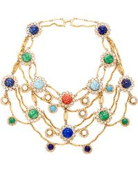 Carole Tanenbaum - 1950S Signed Original By Robert Gold Necklace With Multi Cabochons And Diamante - Lyst