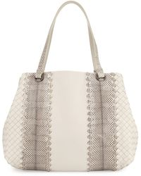 Bottega Veneta Lambskin/Snakeskin Medium Tote Bag - Lyst