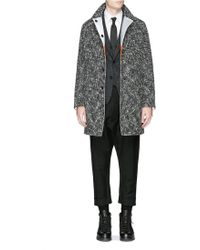 Wooster + Lardini - Reversible Reflective Stripe Wool Coat - Lyst