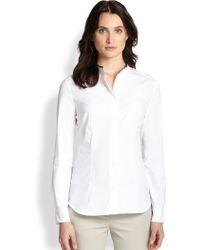 Peserico Poplin Wool-Trim Shirt - Lyst