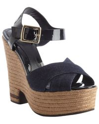 Fendi Blue and Black Denim and Leather Jute Platform Sandals - Lyst