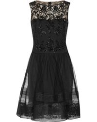 Notte By Marchesa Lace Trimmed Embellished Tulle Dress - Lyst