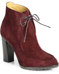 Ralph Lauren Collection Motina Suede Fronttie Ankle Boots - Lyst