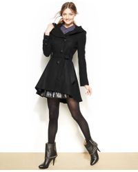 Steve Madden - Hooded Textured High-Low Coat - Lyst