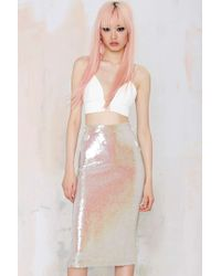 Nasty Gal Essentiel Atlantis Rising Sequin Skirt - Lyst