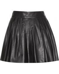Alice + Olivia Pleated Leather Skirt - Lyst