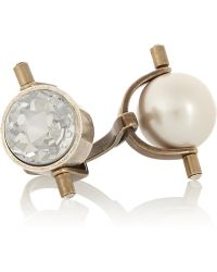 Lanvin Gold And Silver-Tone Crystal And Faux Pearl Ring - Lyst