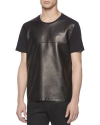 Gucci Leather Front Tee - Lyst