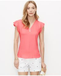 Ann Taylor Flutter Sleeve Top red - Lyst