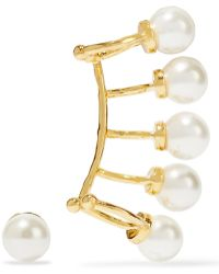 Noir Jewelry - Nathalie Gold-tone Faux Pearl Ear Cuff And Earring Set - Lyst