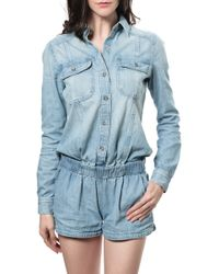 AG Adriano Goldschmied Slow Tide Romper blue - Lyst