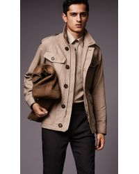Burberry Linen Field Jacket With Bellows Pockets - Lyst