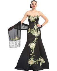 Sue Wong Floral Embroidered Strapless Gown - Lyst