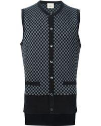 Wooster + Lardini   Checkboard Intarsia Sleeveless Cardigan   Lyst
