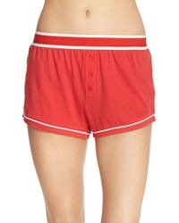 MINKPINK - Embroidered Cotton Sleep Shorts - Lyst