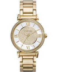 Michael Kors Womens Catlin Gold-tone Stainless Steel Bracelet Watch 38mm - Lyst