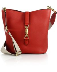 Gucci Jackie Soft Leather Bucket Bag red - Lyst