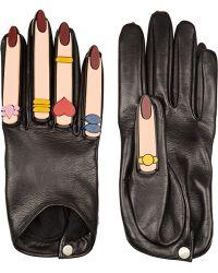 Yazbukey - + Plexiglas®-Embellished Leather Gloves - Lyst