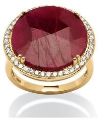 Palmbeach Jewelry - 14.35 Tcw Round Ruby And Cubic Zirconia Ring In 18k Gold Over Sterling Silver - Lyst