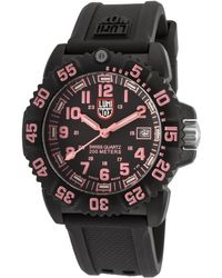 Luminox - Women's Navy Seal Colormark 7050 Black Silicone Black Dial Pink Accent - Lyst