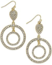 Inc International Concepts Gold-Tone Crystal Accent Double Circle Drop Earrings - Lyst