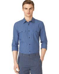 Calvin Klein Modern Fit Endonend Slub Sport Shirt - Lyst