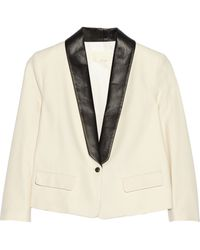 Band Of Outsiders Leather-trimmed Cotton Blazer - Lyst