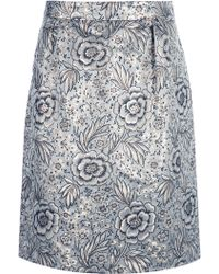 Burberry Prorsum Gray Print Skirt - Lyst