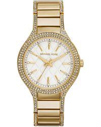 Michael Kors Mid-Size Golden Stainless Steel Kerry Quilted Three-Hand Glitz Watch - Lyst