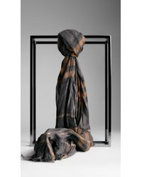 Burberry Check Wool Cashmere Crinkled Scarf - Lyst