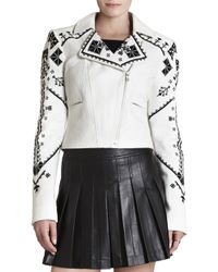 BCBGMAXAZRIA Kade Embroidered Moto Jacket - Lyst