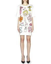 Moschino Printed Cotton T-shirt Dress White - Lyst
