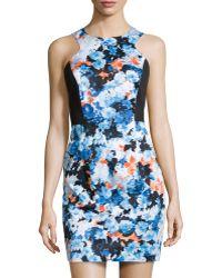 Donna Morgan Floralprintsolid Zipback Dress - Lyst
