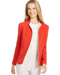 Jones New York Collection Petite Colorblocked Soft Open-Front Jacket red - Lyst