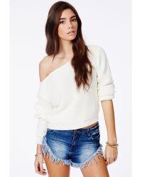 Missguided Erisha Cream Off Shoulder Cropped Sweater - Lyst