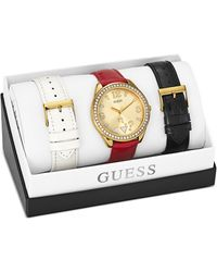 Guess Womens Interchangeable Patent Leather Strap Watch Set 44mm - Lyst