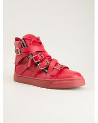 Giuseppe Zanotti Red Hitop Sneakers - Lyst