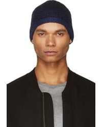 T By Alexander Wang - Blue Ink Chenille Tuck Stitch Beanie - Lyst