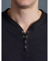 John Varvatos Short Sleeve Garment Sprayed Henley - Lyst